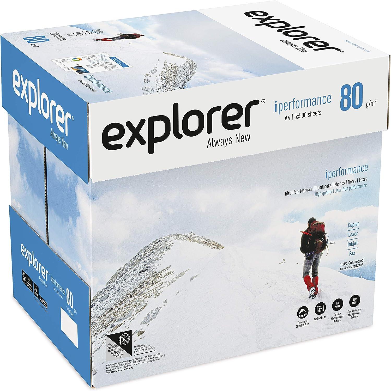 EXPLORER - Papel blanco multiusos para impresora - A4 80gr - 5 paquetes - 2500 folios: Amazon.es: Oficina y papelería