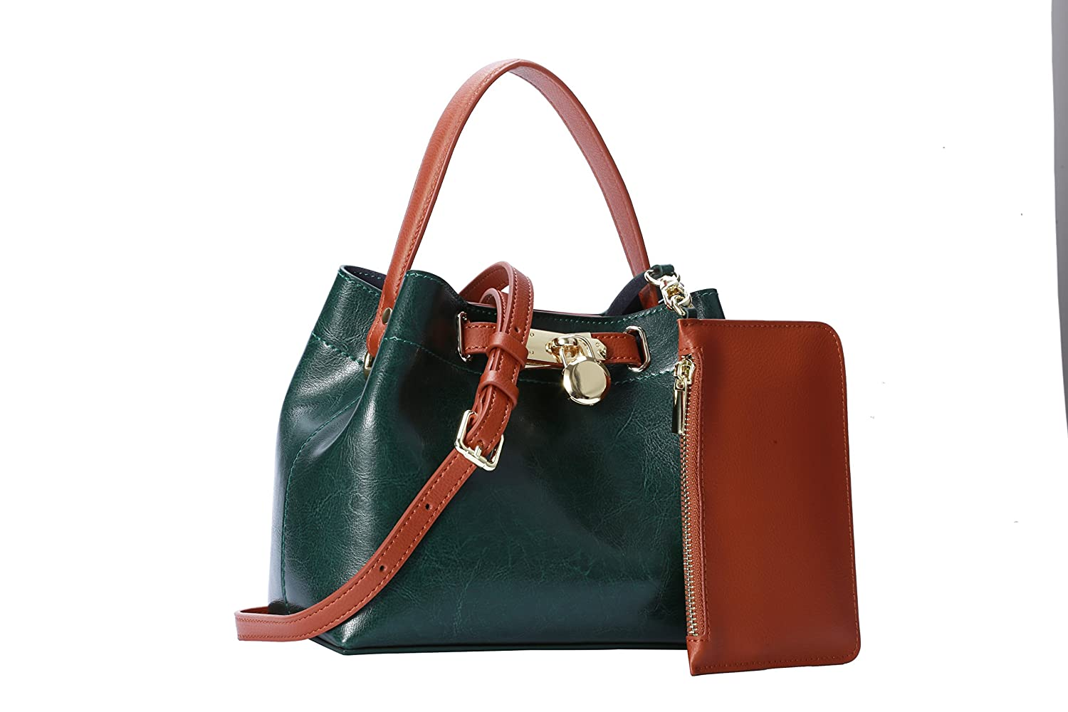 9eb39b68ea1c Strap Purse Women Shoulder Bag Crossbody Satchel Ladies Girls Tote Travel  Party Purse Genuine Leather Dual Use (Green)  Handbags  Amazon.com
