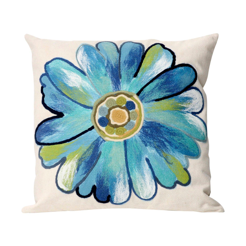 Liora Manne 7S02SA36804 Mystic III Flower Power Aqua Indoor/Outdoor Pillow