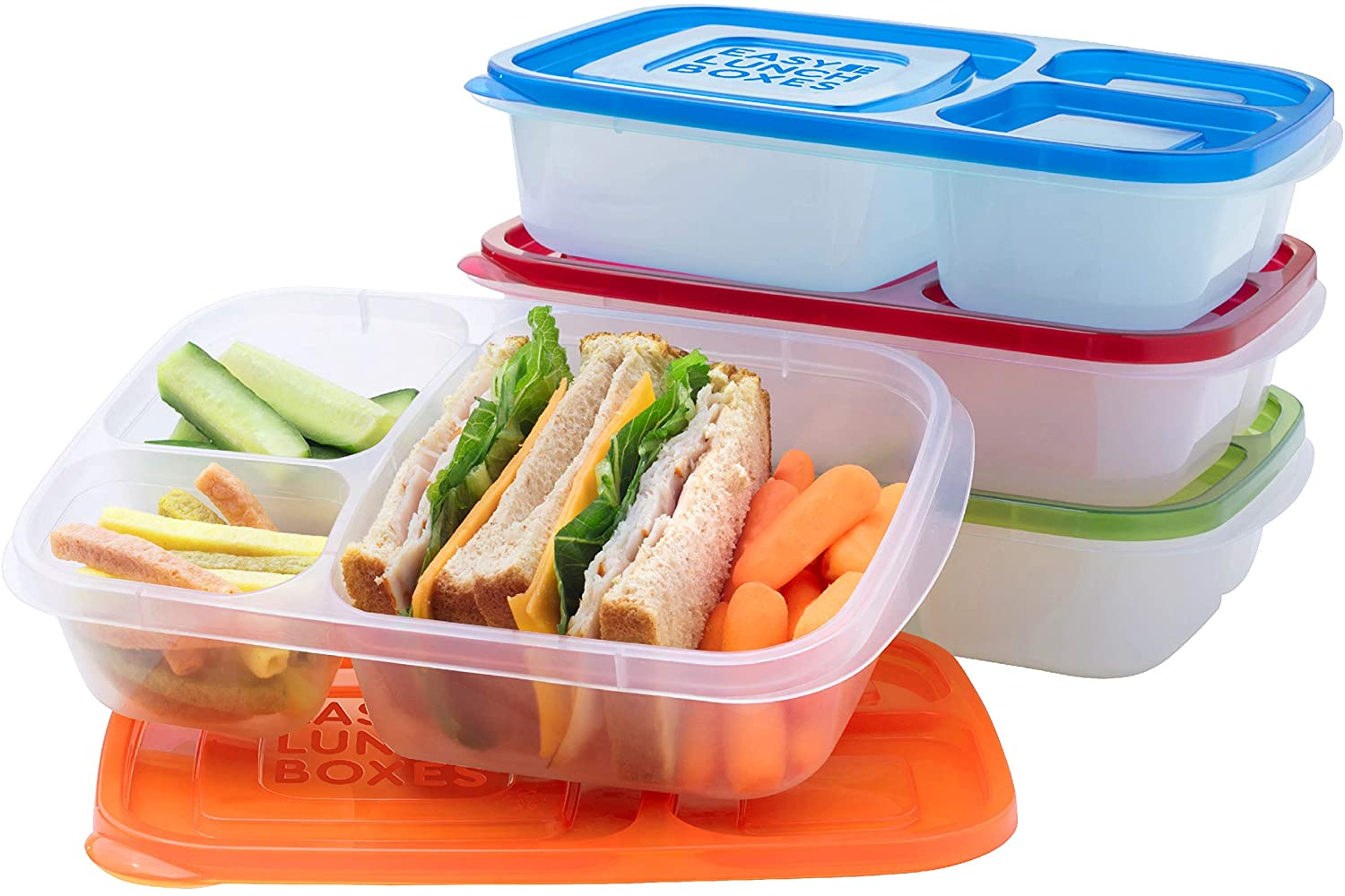 Amazon Com Easylunchboxes Bento Lunch Boxes Reusable 3 Compartment Food Containers For School Work And Travel Set Of 4 Classic Kitchen Dining
