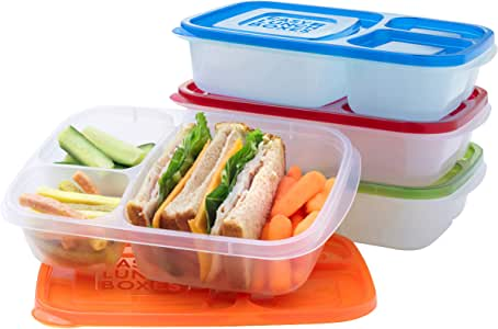 EasyLunchboxes Lunch Box Food Containers, 3-Compartment, Set of 4, Classic