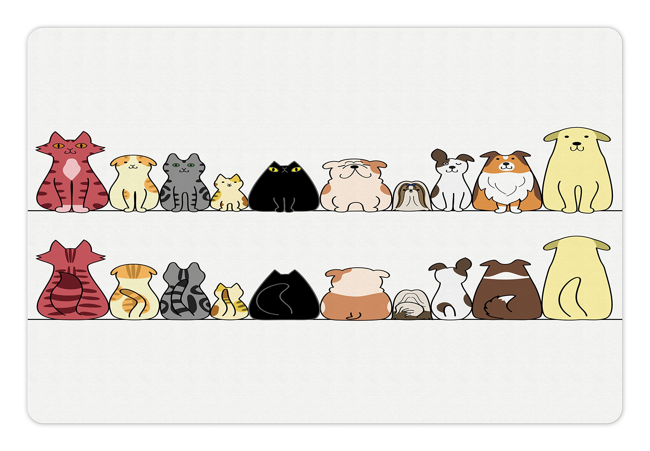 Lunarable Animals Pet Mat for Food and Water, Cats and Dogs Collie Calico Labrador Scottish Shorthair Tabby Shih Tzu Pet Art, Rectangle Non-Slip Rubber Mat for Dogs and Cats, Multicolor