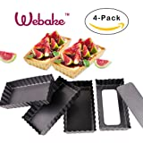 Webake 4-Pack 4.5 inch Deep Tart Pans Removable