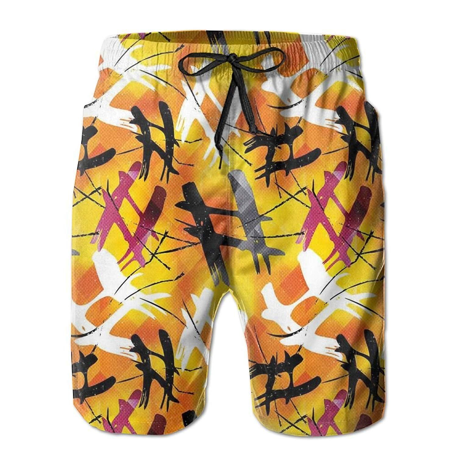 MSGDF Beach Shorts Vibrant Colors Lines Graphic Men Breathable Swim Trunks Exercise Board Pants