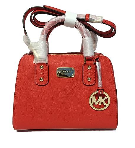 michael kors small satchel mandarin orange saffiano leather handbag rh amazon com