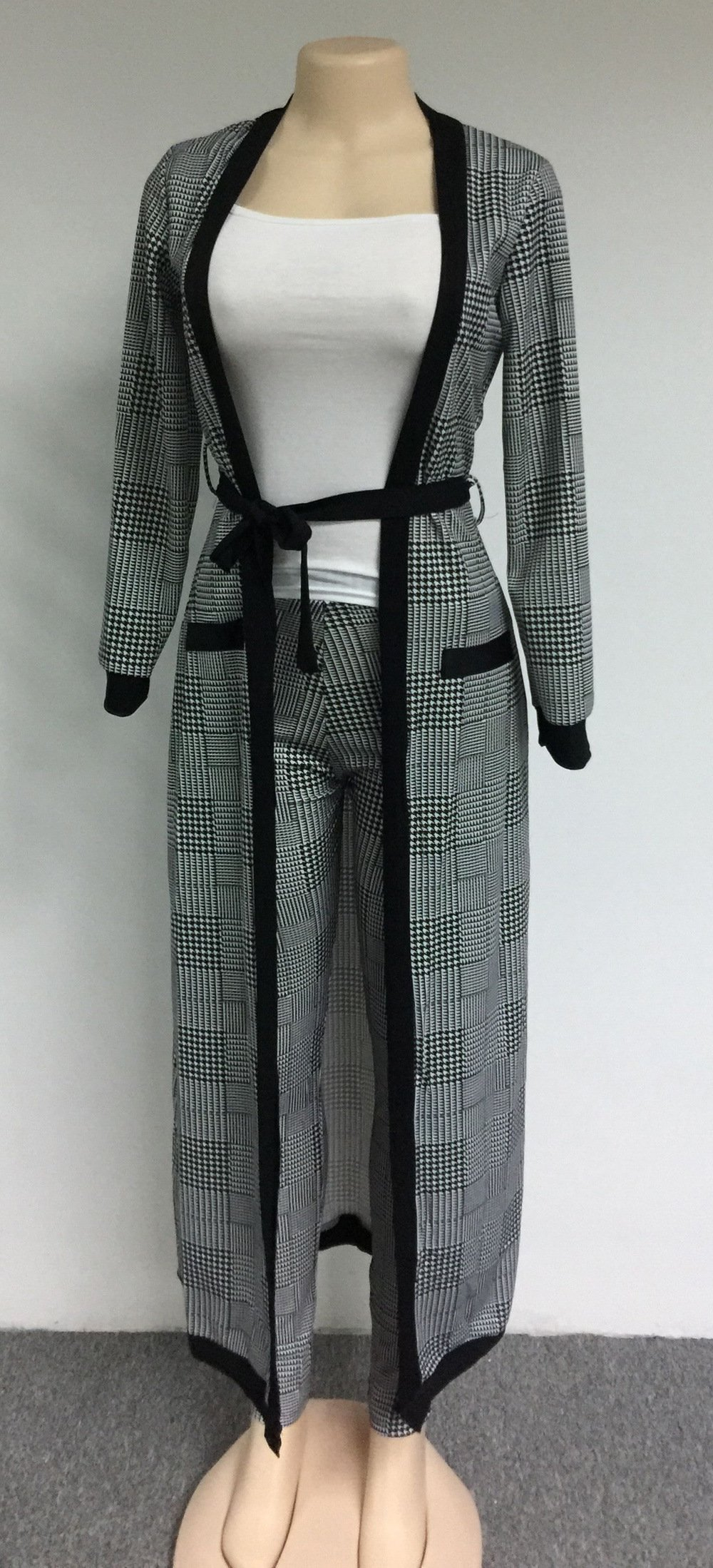 VERWIN Long Sleeve Plaid Tops and High Waist Skinny Pants Houndstooth Blazer Outfit 3 Sets XL by VERWIN (Image #6)