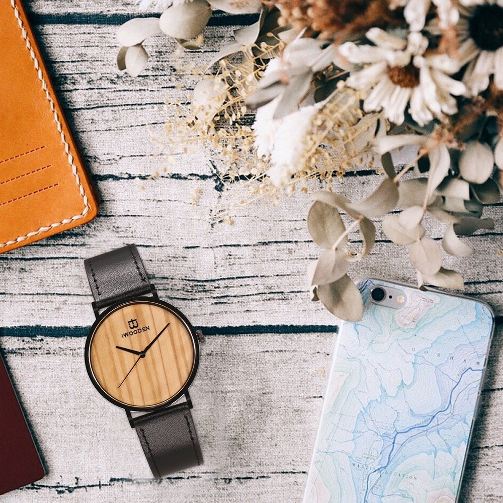 IWOODEN Wooden Watch for Men Wrist Watch Wooden Wristwatch with Leather Strap Natural Bamboo Wood Watch Gift for Groomsmen by IWOODEN (Image #6)