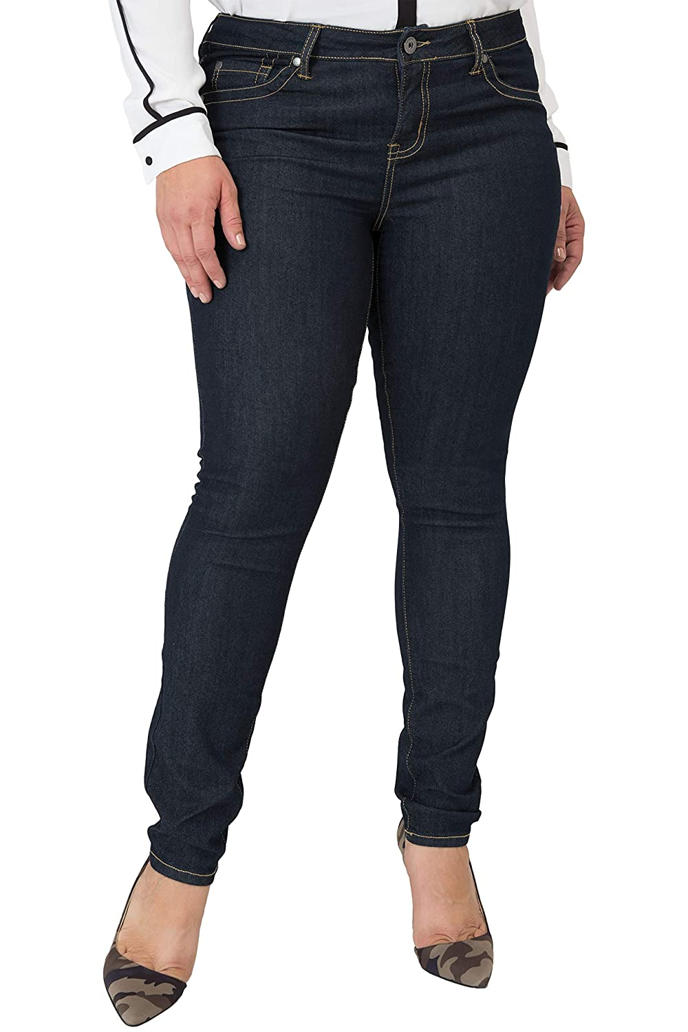 633e68674490d Miss Halladay Plus Size Women's Midrise Skinny Jeans Indigo Rinse Size 10  to 30 at Amazon Women's Jeans store