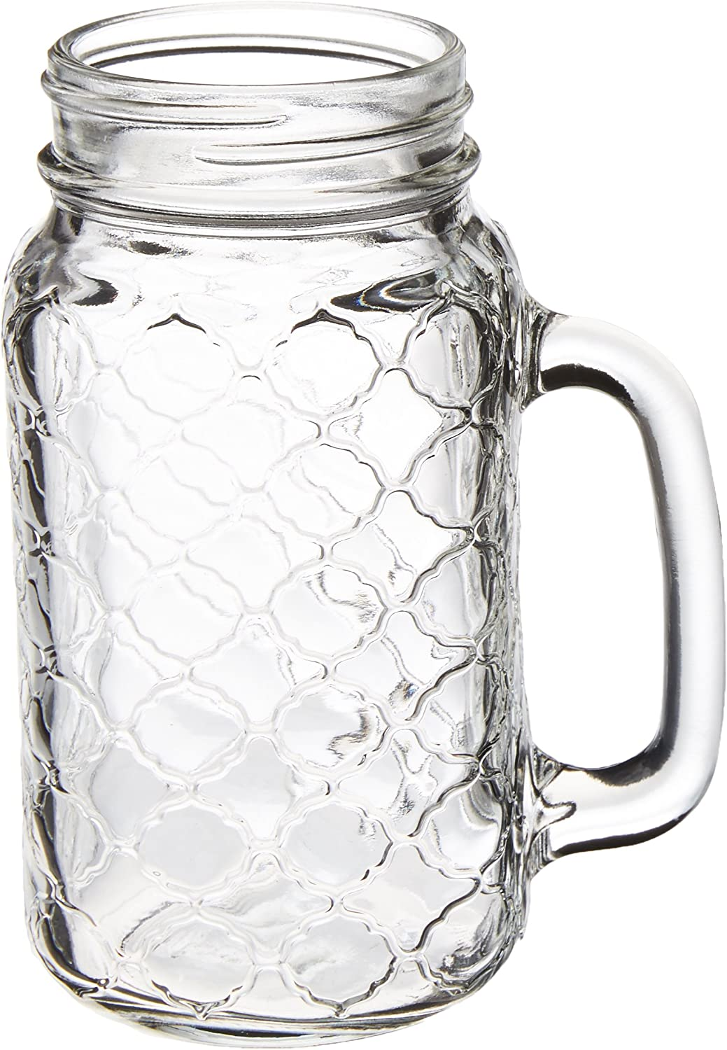 Circleware Garden Gate Yorkshire Mason Jar Mugs with Glass Handles, Set of 4 Beverage, Water, Juice, Beer Glassware Drinking Cups, 24 oz