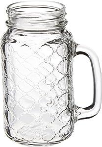 Circleware Garden Gate Yorkshire Mason Jar Mugs with Glass Handles, Set of 4 Beverage, Water, Juice, Beer Glassware Drinking Cups, 24 oz