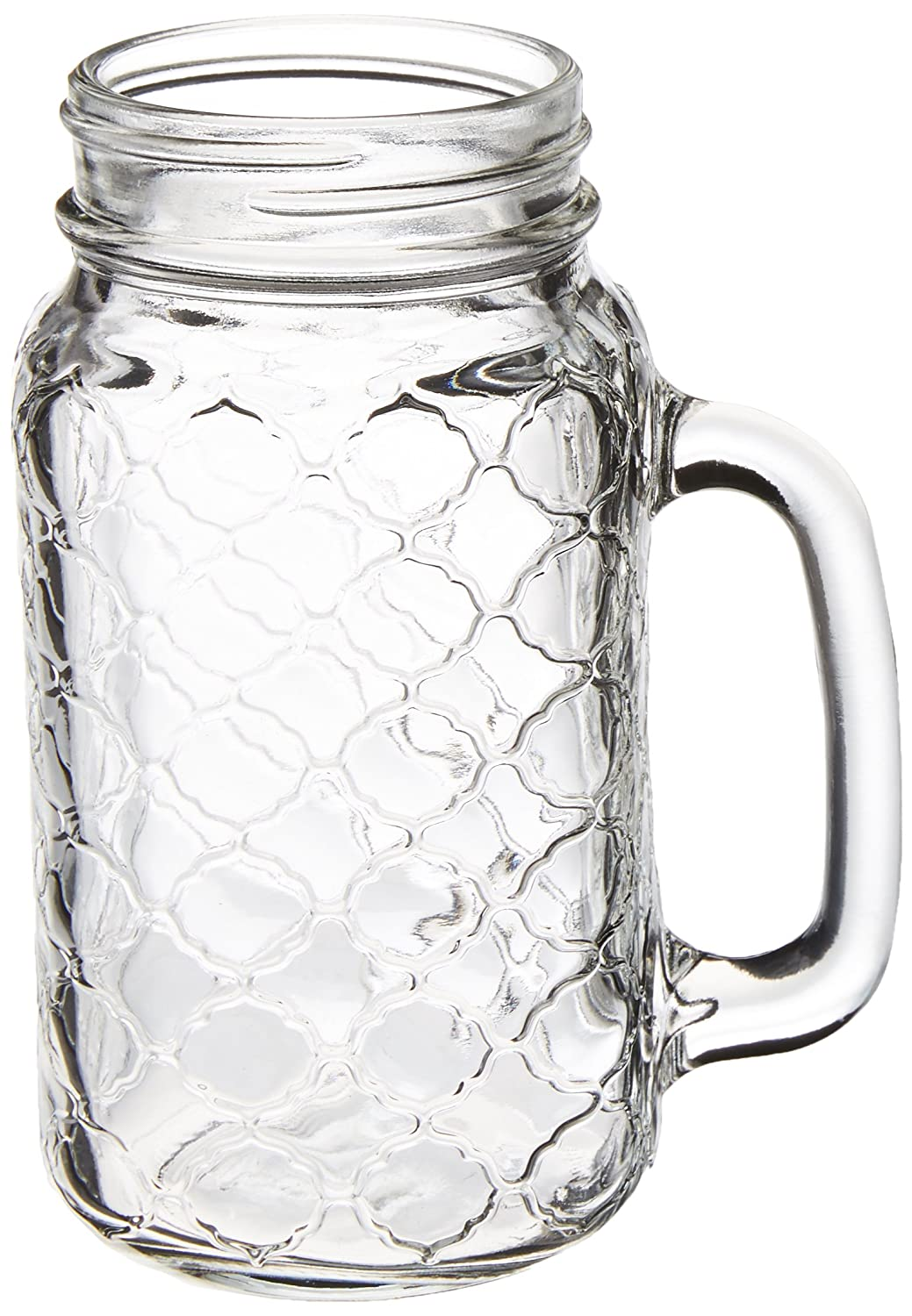 Circleware 68122 Garden Gate Yorkshire Mason Jar Mugs with Glass Handles, Set of 4 Beverage, Water, Juice, Beer Glassware Drinking Cups, 24 oz