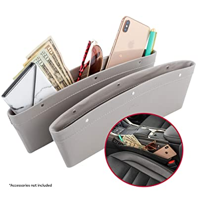 Lusso Gear 2 in 1 Car Seat Gap Organizer | Universal Fit | Storage Pockets Adjust | 2 Set Car Seat Crevice Storage Box | Helps Reduce Distracted Driving & Holds Phone Money Cards Keys Remote: Automotive