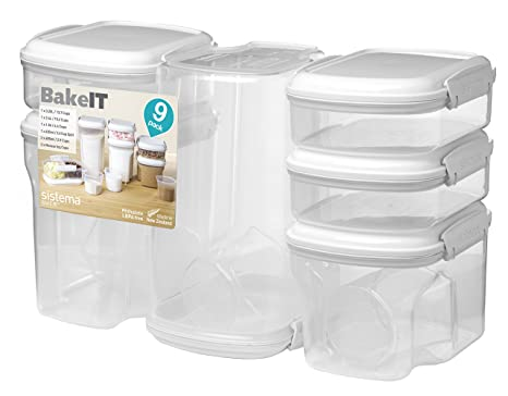 Sistema Bake IT Collection Food Storage Containers, Clear/White, 9 Piece Set
