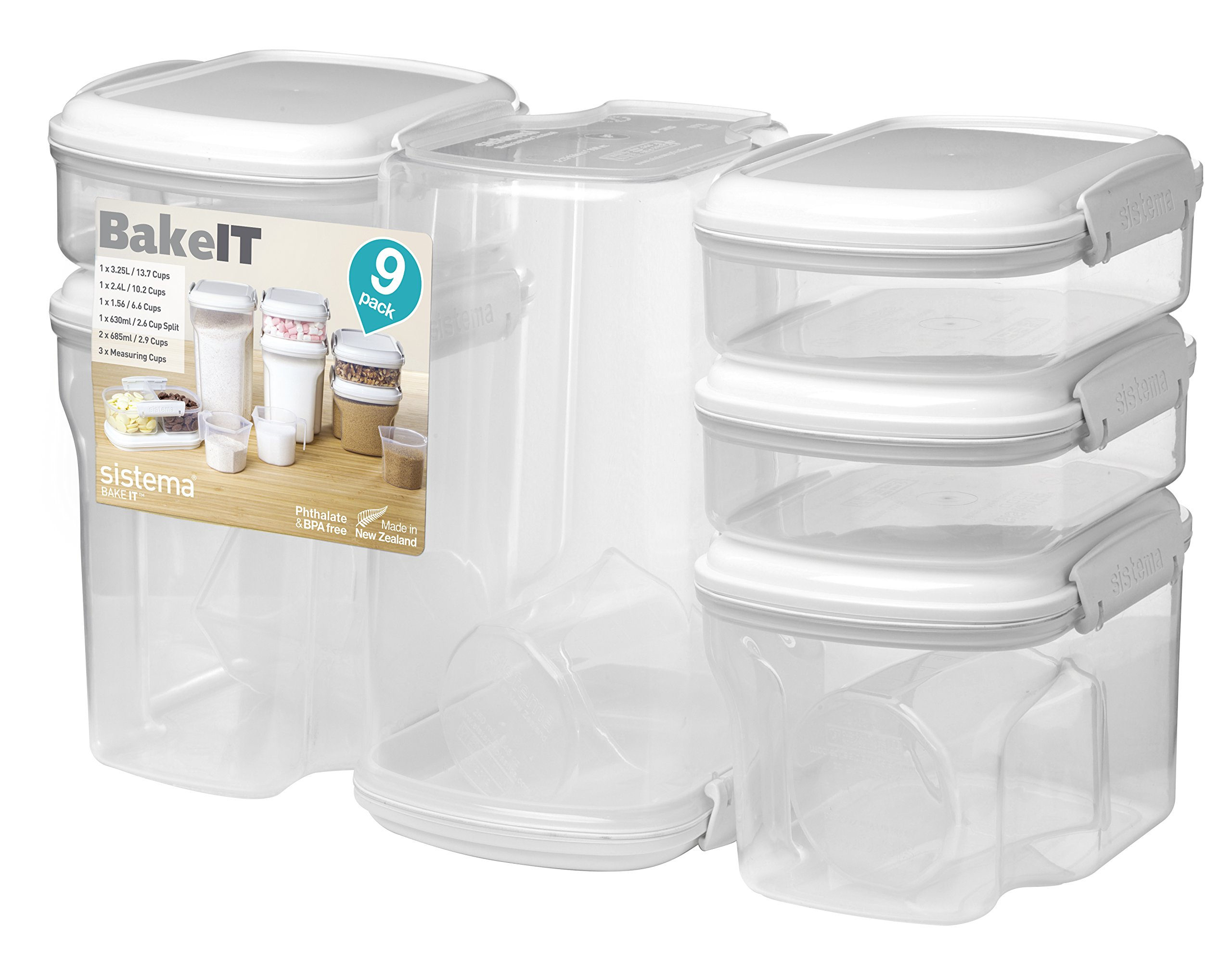 Sistema Bake IT Collection Food Storage Containers, Clear/White, 9-Piece Set by Sistema