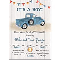 Other Colors Available Vintage Truck Automobile Transportation It/'s a Boy Turquoise Blue Grey Chevron Baby Shower Banner Sign Decorations