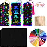Gdaya 60 Set Magic Scratch Rainbow Bookmarks for Kids Students, Scratch Rainbow Paper DIY Bookmarks DIY Gift Tags with Bookmark Tassels & Wood Stylus for Party and DIY Craft Activities