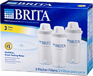 Brita Standard Water Filter, Standard Replacement Filters for Pitchers and Dispensers, BPA Free - 3 Count