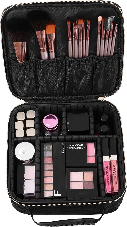 SONGMICS Bolso para Maquillaje Organización de Maquillaje Almacenaje Neceser de Viaje Bolso de Aseo con Asa M MUC23BK: Amazon.es: Equipaje