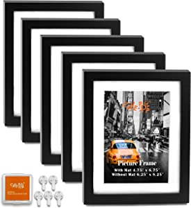 """CAVEPOP 5x7 Black Picture Frames 5-Sets, Made to Display (6.25x8.25"""" Ivory Color Mat 5x7"""") Collage Picture Frame Sets"""