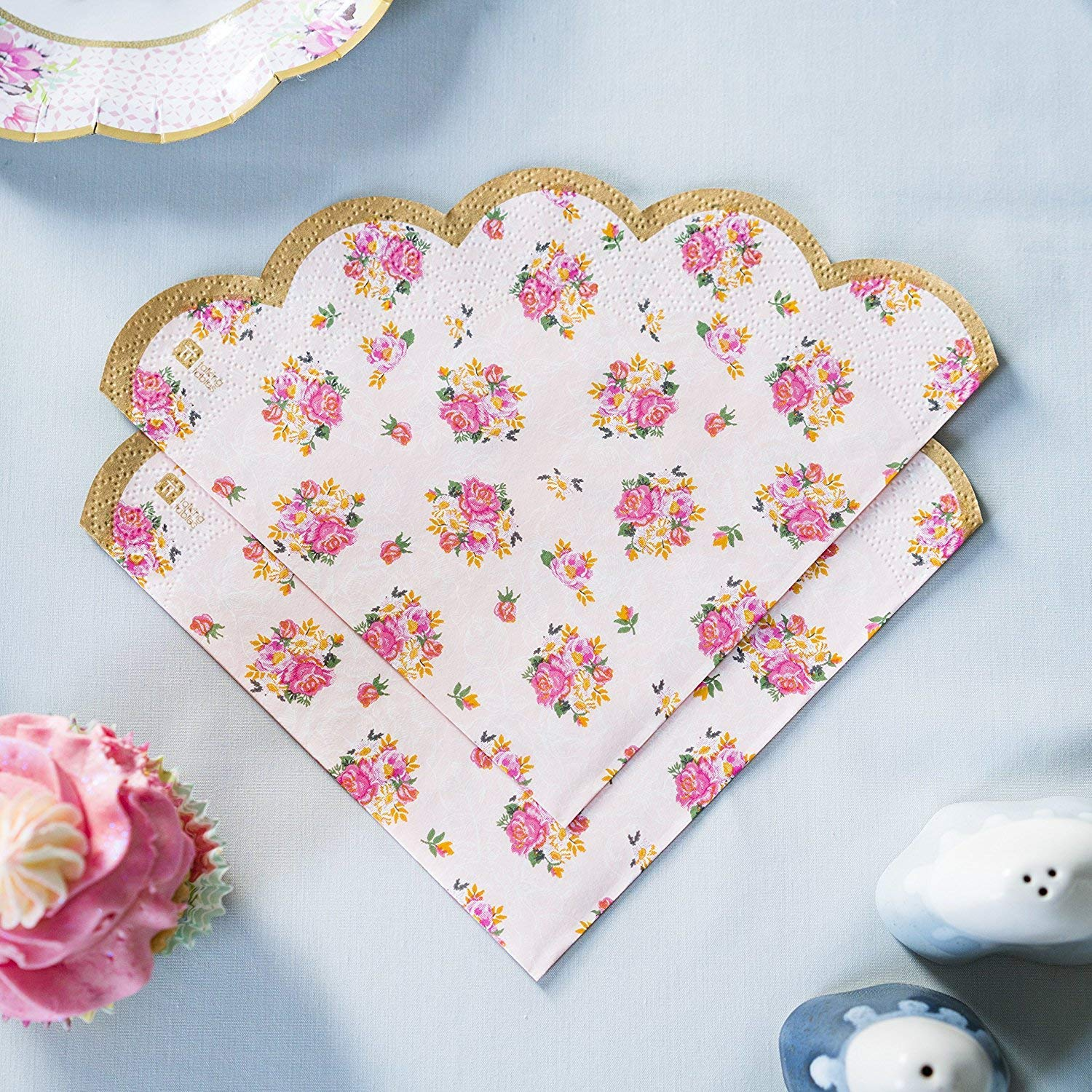 Talking Tables Vintage Floral Tea Party Supplies | Scalloped Paper Plates, Napkins, Tea Cups and Saucer Sets | Also Great for Wedding Parties, Bridal Shower, Baby Shower and Birthday Party by Talking Tables (Image #6)