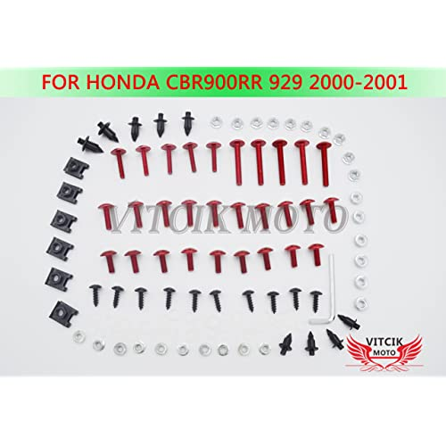 Rojo /& Plata VITCIK Kit Completo de Tornillos y Pernos de Carenado para Yamaha YZF600 R6 2005 YZF-600 YZF 600 R6 05 Clips de Sujeci/ón en Aluminio CNC de La Motocicleta