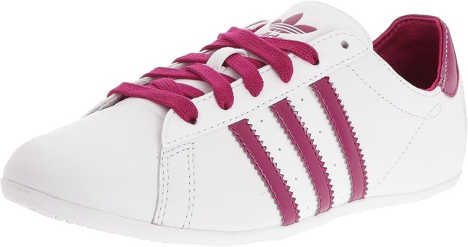blaue kunstleder adidas schuhe mit pink streifen