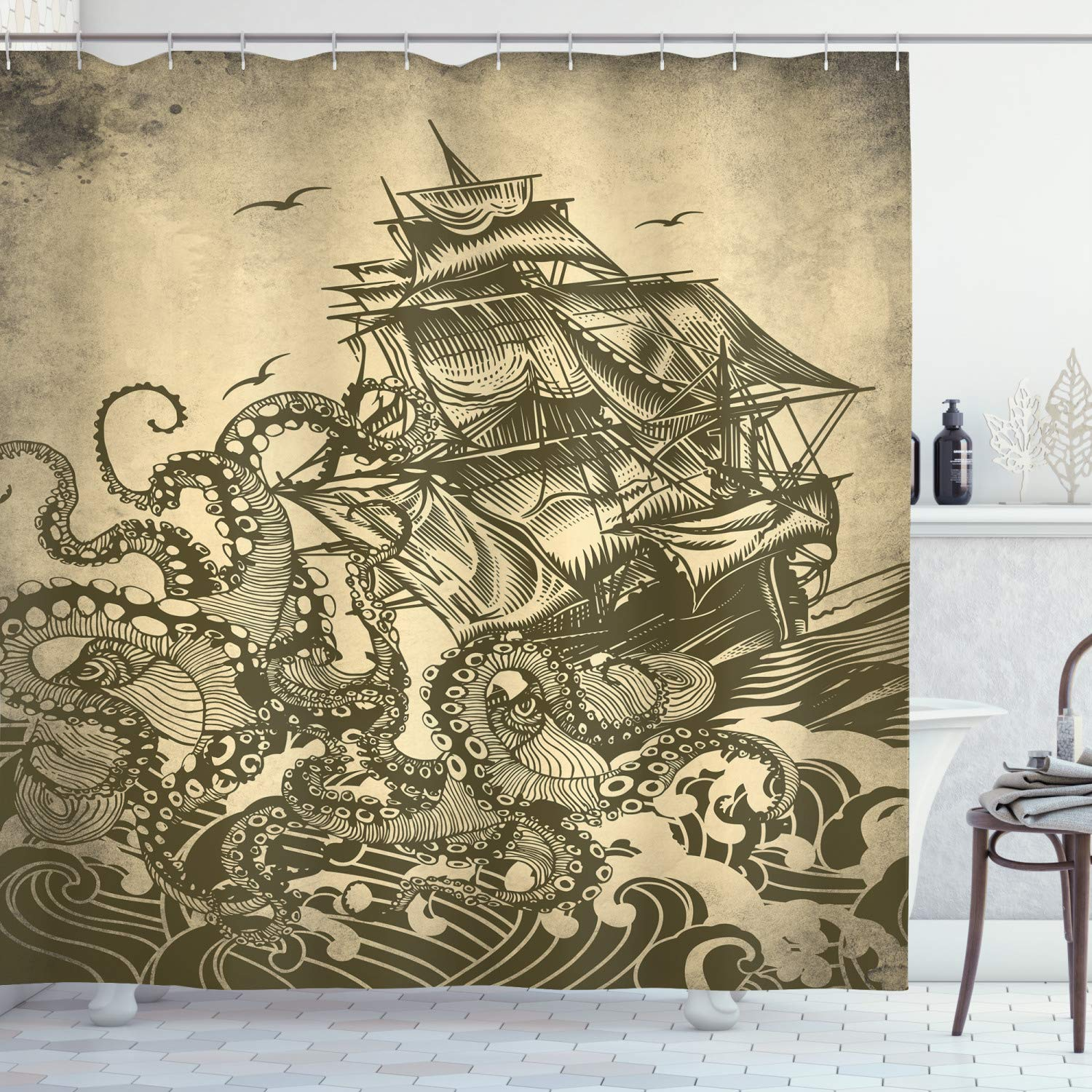 "Ambesonne Nautical Shower Curtain, Kraken Octopus Tentacles with Ship Sail Old Boat in Ocean Waves, Cloth Fabric Bathroom Decor Set with Hooks, 70"" Long, Yellow Olive"