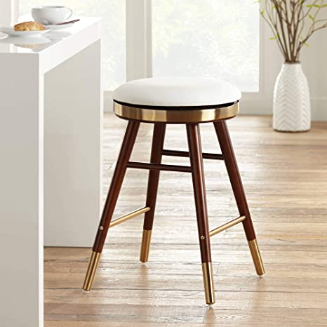 Peachy Amazon Com Parker White Leather Backless Counter Stool Evergreenethics Interior Chair Design Evergreenethicsorg