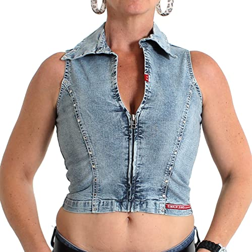 Top con Zip Jean Mega sexy e rivetti – o la Moon Stone washed – taglia XS – XL