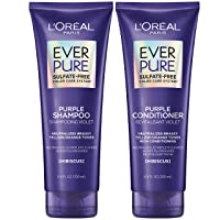 L'Oreal Paris EverPure Brass Toning Purple Sulfate Free Shampoo and Conditioner, 8.5 Ounce (Set of 2)