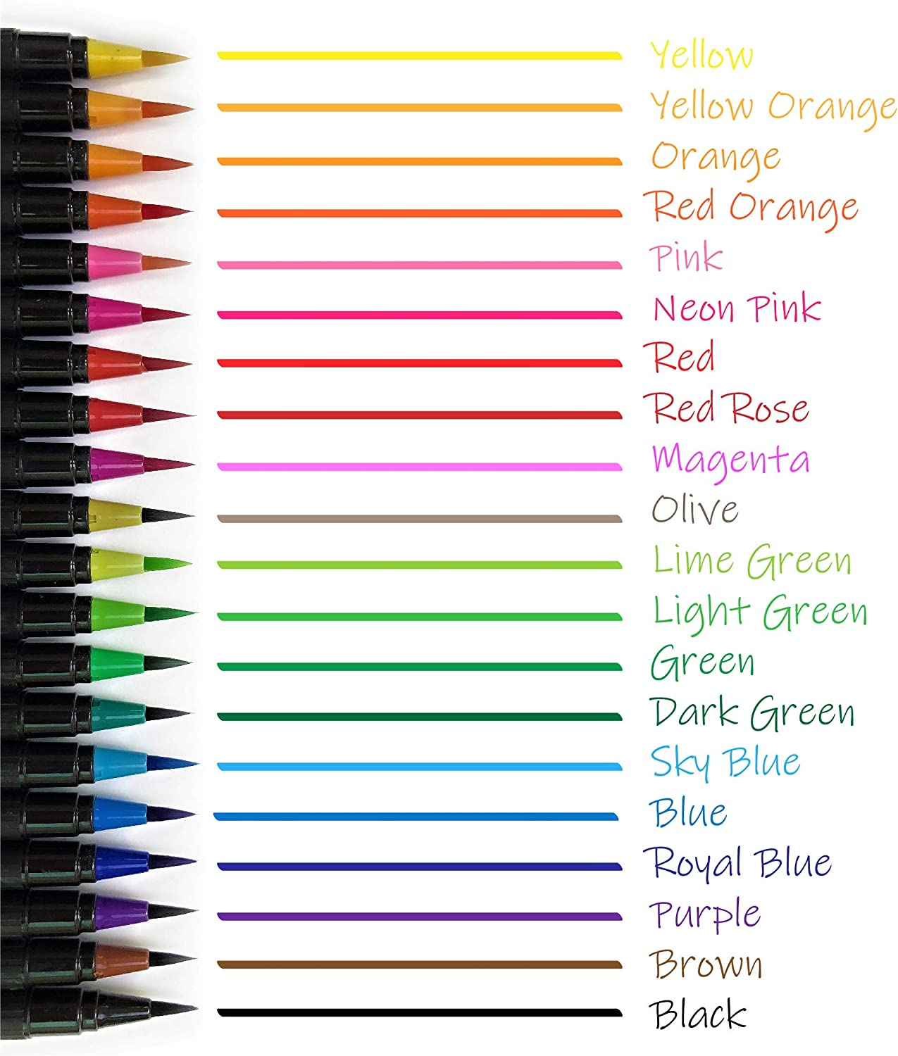Watercolor Brush Pens Set Soft Tip for Art 20 Color Markers Non-Toxic Bonus Sketch Pad /& Refillable Water Pen Drawing Coloring Page Water Based Calligraphy Sketching and Paint Effects