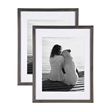 DesignOvation Gallery Wood Photo Frame Set for Customizable Wall Display, Pack of 2 14x18 matted to 11x14 Gray