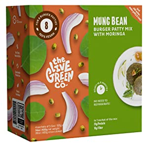 The Live Green Co Mung Burger Mix – Plant-Based Vegetarian Burger Patty Mix – Rich in Fiber and Protein – No Gluten, Soy, Artificial Additives – Vegan Mix for Burgers, Meatballs, Crispy Snacks