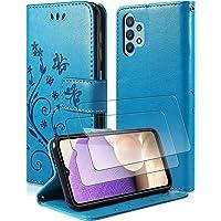 """Pnakqil Etui kompatybilne z Samsung Galaxy A32 5G 6,5"""" + 2 sztuki folii ochronnych na wyświetlacz, Butterfly Leather…"""
