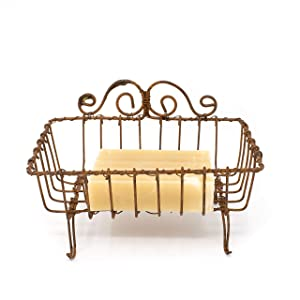 GRILA Vintage Wire SOAP Basket -Soap Holder in Antique French Provincial Farmhouse Style Cute Rustic Functional Country Decor soap or Sponge Accessory for Your Home Cabin Kitchen Bathroom Bath Shower