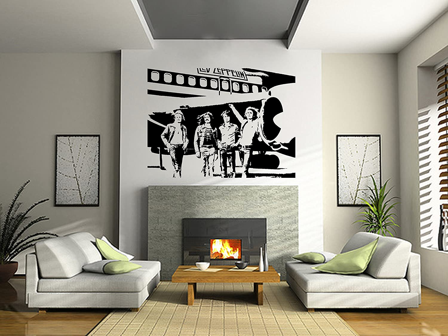 amazon com led zeppelin wall art sticker rock music decal band amazon com led zeppelin wall art sticker rock music decal band vinyl mural wa661 exlarge 148cm w x 110cm h home kitchen