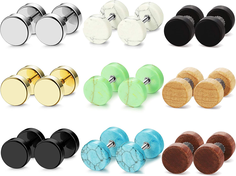 Adramata 9 Pairs Stud Earrings for Men Women Wood Stainless Steel Gauge Earrings Ear Plugs Tunnel Ear Piercing 18G