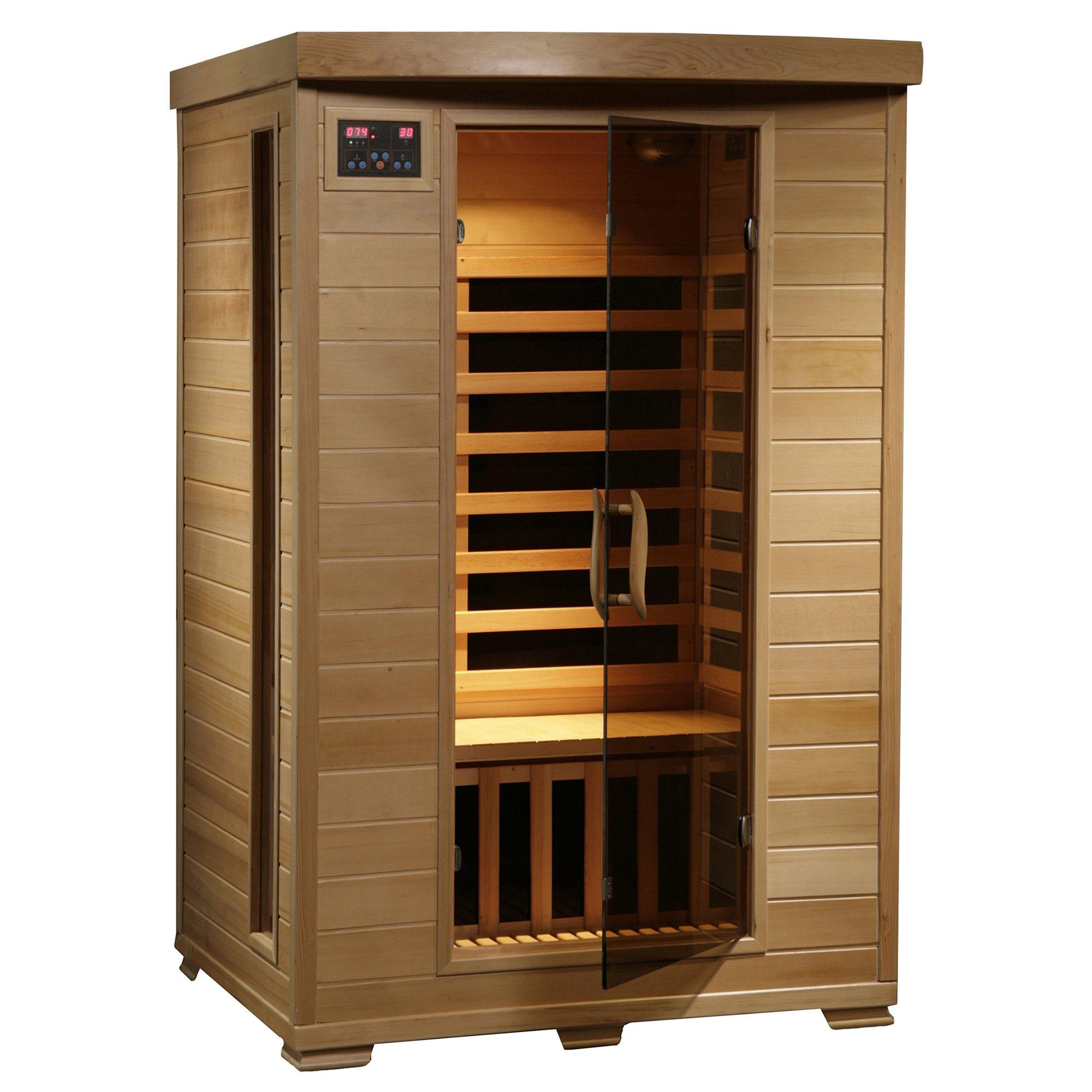 2-Person Hemlock Deluxe Infrared Sauna w/ 6 Carbon Heaters