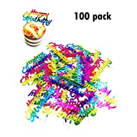 Lauren 100Pcs Gradient Color Happy Birthday Plastic Cupcake Toppers Cake Decorating Tools for Party