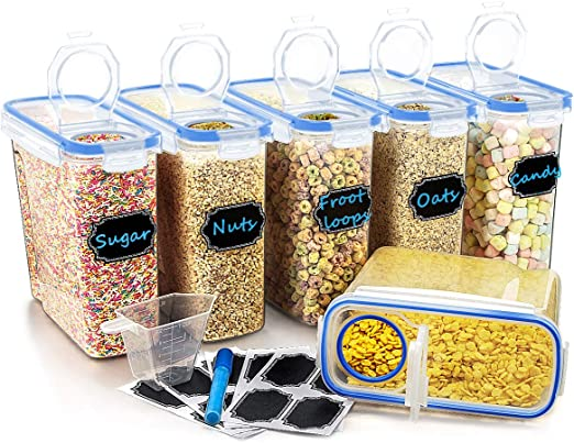 4Pcs Cereal Containers Airtight Dry Food Keepers For Flour Sugar Blue