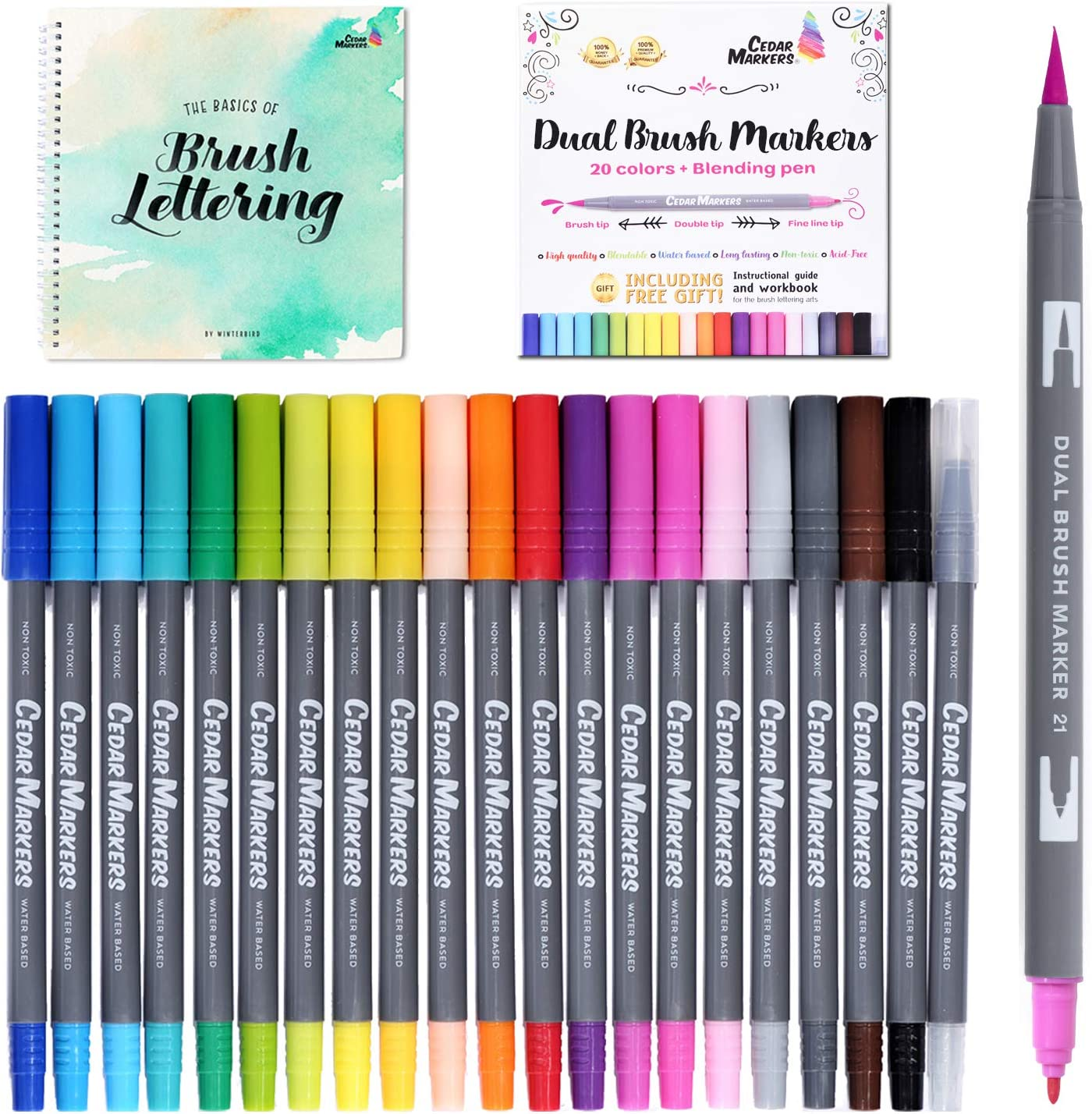- Amazon.com: Dual Tip Brush Pens. 21 Calligraphy Pen Set With Best