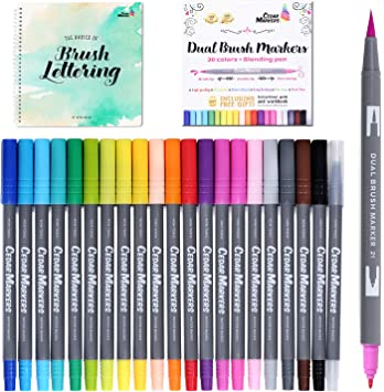 Dual Tip Brush Pens. 21 Calligraphy Pen Set with Best Hand Lettering Guide  Book. Fine Liner and Brush Tip Markers. Colored Pens, Art Pens for Adult ...