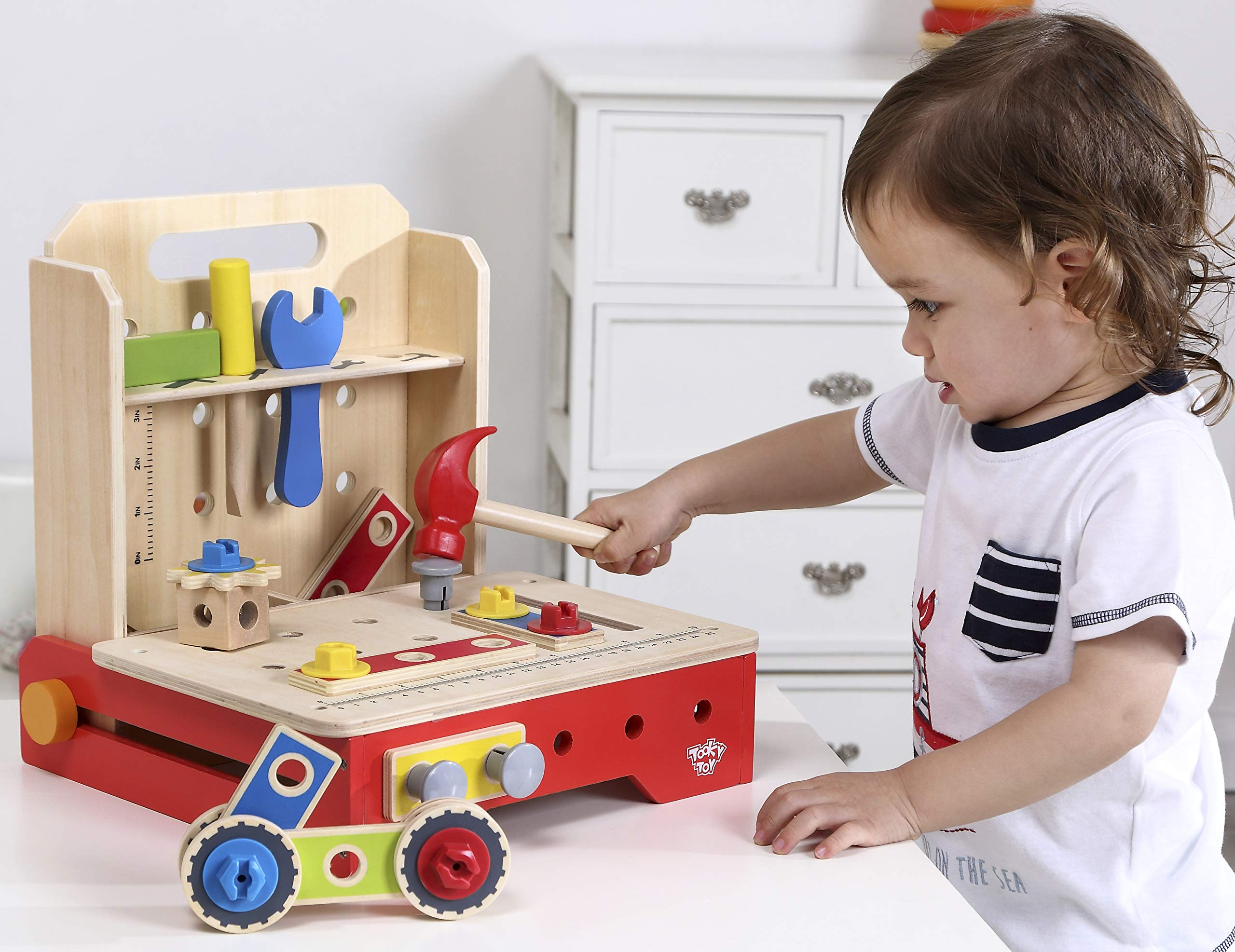 charaHOME Kids Wooden Pretend Play Toy Kids Foldable Workbench Portable Toolbox Construction Toy Role Play Set 36 Piece