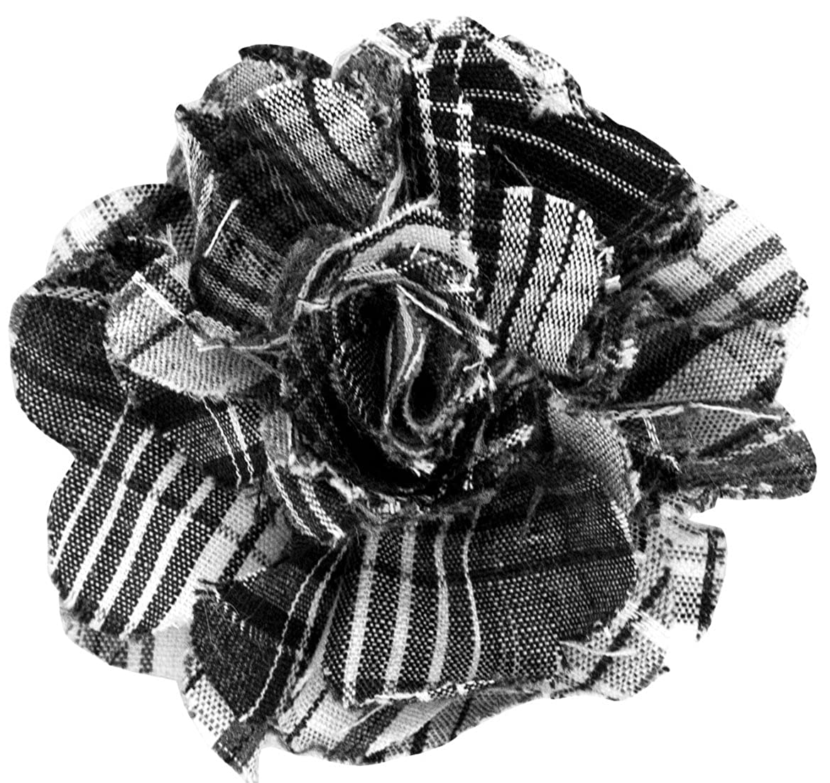 Cotton Lapel Flower Black Plaids