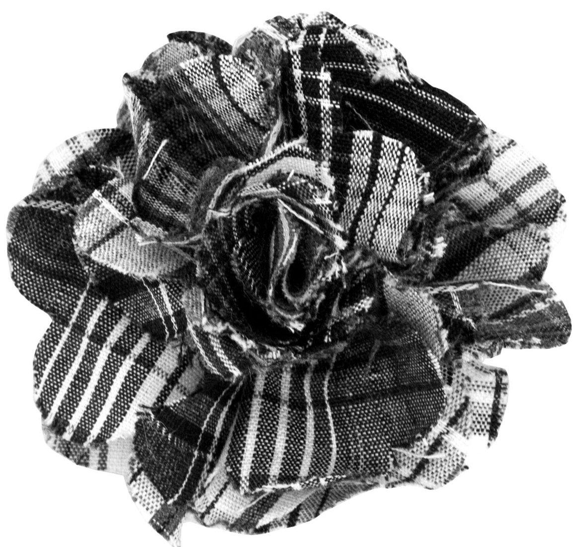 Cotton Lapel Flower . Black Plaids