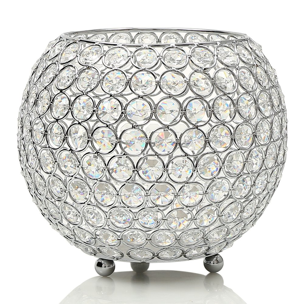 VINCIGANT Silver Crystal Clear Display Vases/Bowl Candleholders/Candle Shade for Anniversary Celebration,Modern Home Holiday Decoration/Wedding Coffee Table Decorative Centerpiece,8 inch Diameter