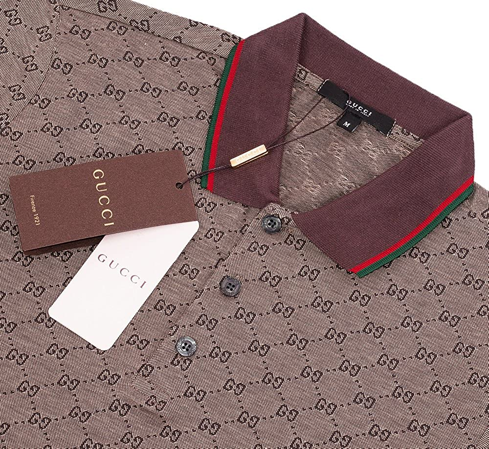 b72fe3e48 Amazon.com: Gucci Polo Shirt, Mens Brown Short Sleeve Polo T- Shirt GG  Print: Clothing