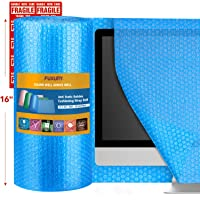 """Fuxury Blue 16"""" Anti-Static Bubble Cushioning Wrap Roll Air Bubble Roll 1 Roll 36 Feet,Perforated Every 12"""",Included 10 Fragile Sticker Labels for Packaging Moving Shipping Boxes Supplies"""
