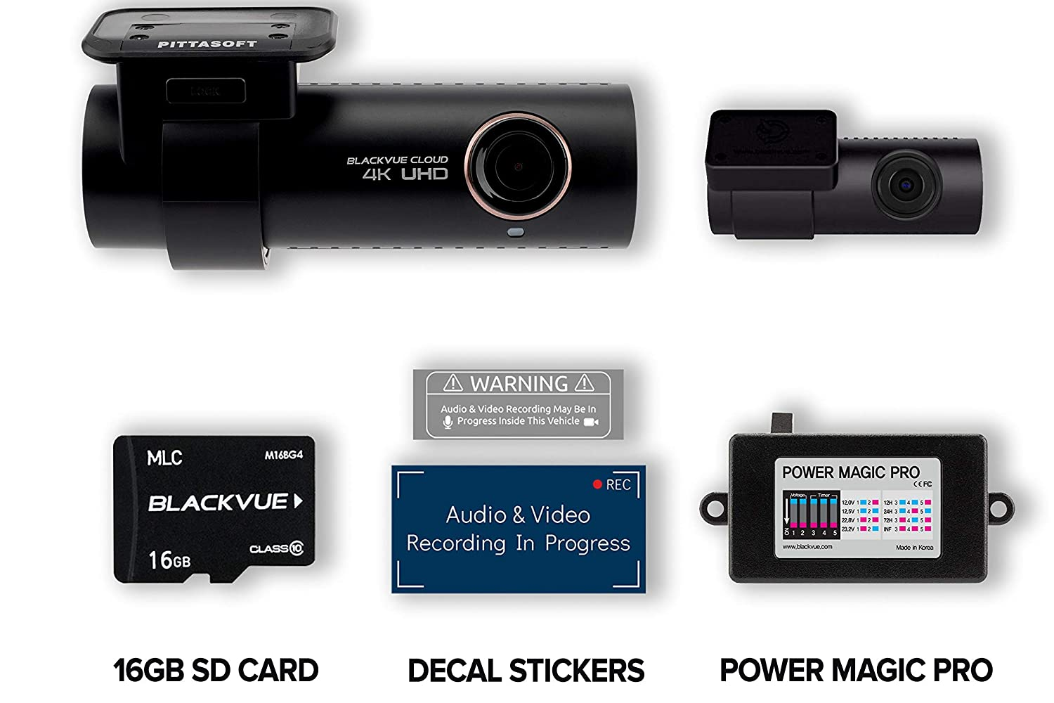 BlackVue DR900S-2CH with 16GB Micro SD Card | Power Magic Pro Hardwiring Kit Included | WiFi GPS 4K Recording Cloud Connectivity