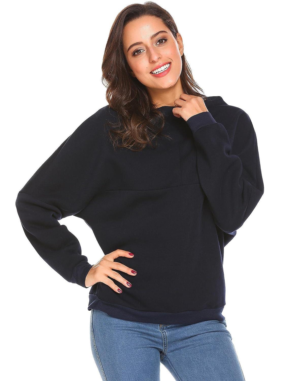 Mofavor Womens Turtleneck Drop Shoulder Baggy Sleeves Fleece Sweatshirt Pullover Tops